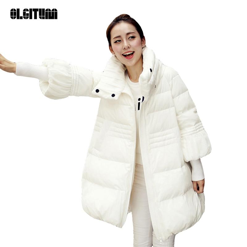 ФОТО OLGITUM  Female Winter  Padded Jacket High Collar Zipper Slim Coat  Woman  Coat Large Skirts Long Parkas CD568