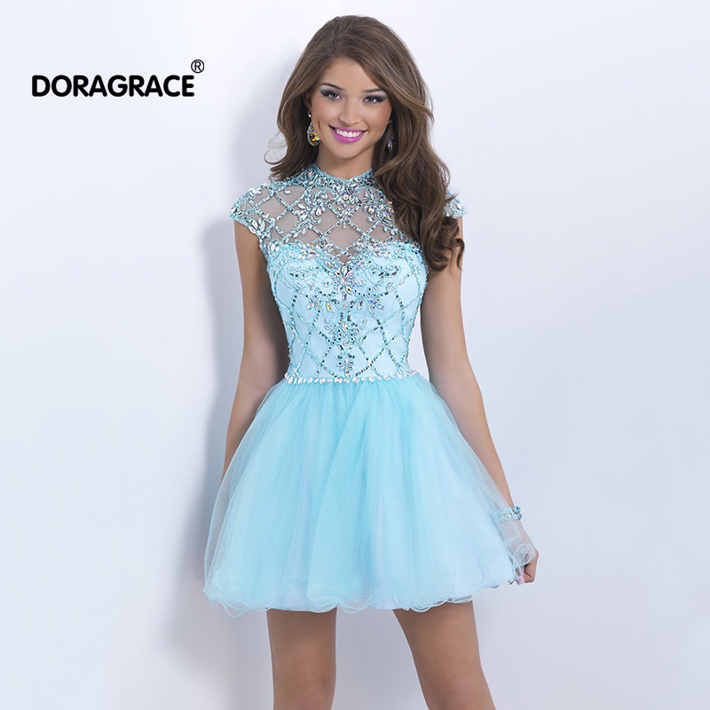 Doragrace vestido de festa curto Crystal Beaded Short Tulle Party   Dresses   Mini   Cocktail     Dress   Open Back   Cocktail     Dresses
