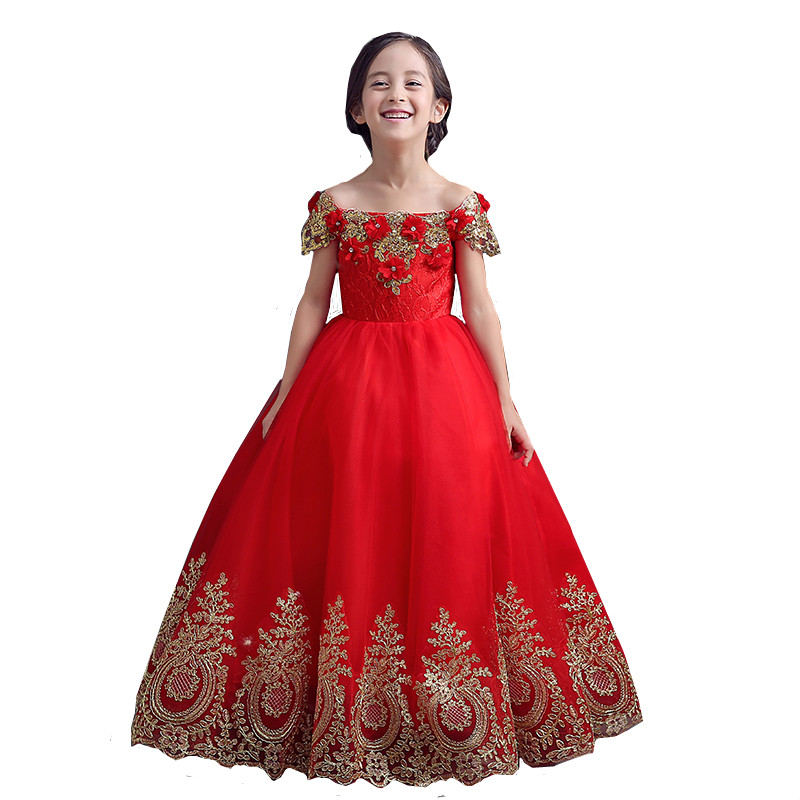 mdbridal red long gowns for kids off shoulder ball gown