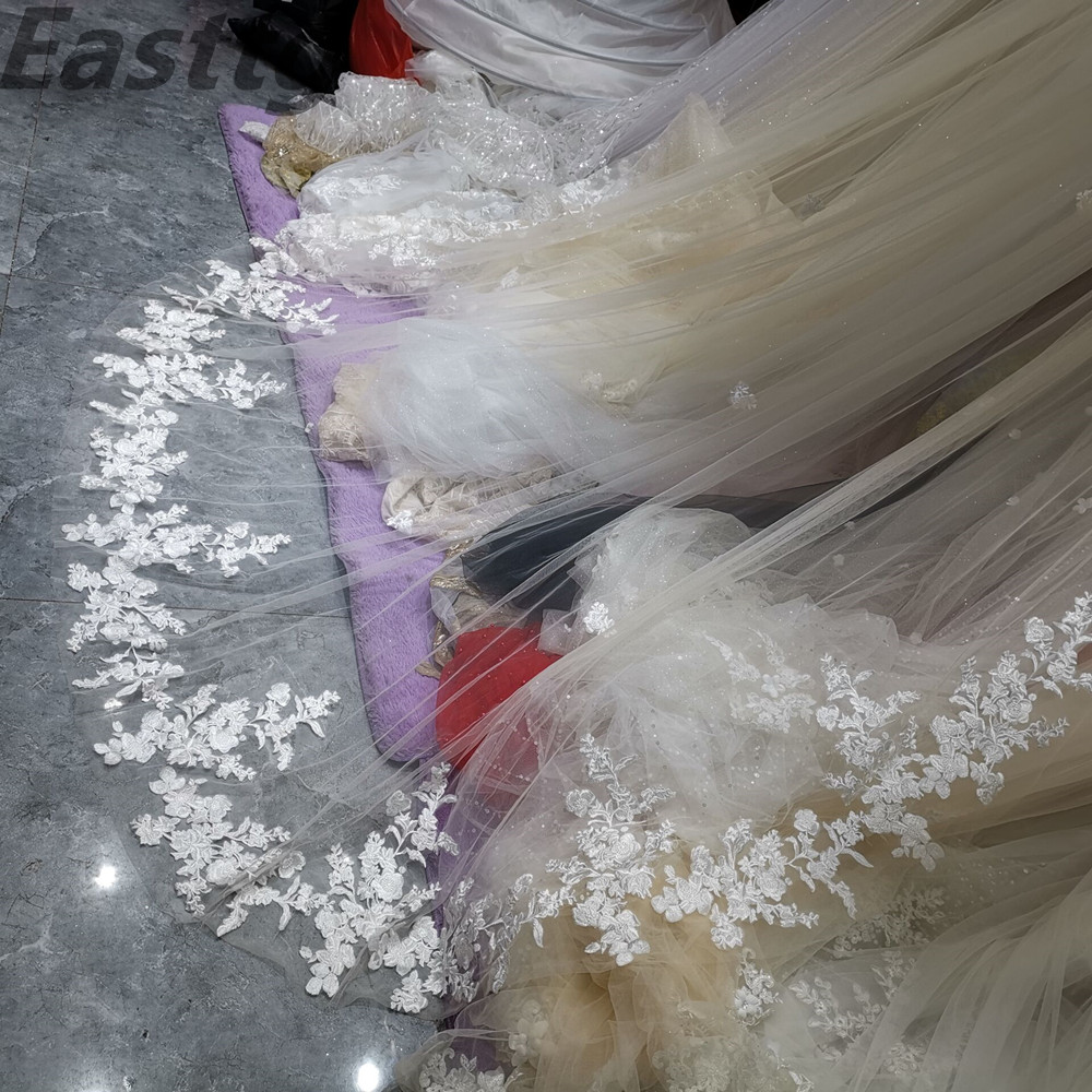 Image 5 - Real Photos Bridal Veils One Layers 3.5M luxurious Long White Ivory Bridal Accessory Veil For Brides Lace Wedding Veil with Comb-in Bridal Veils from Weddings & Events