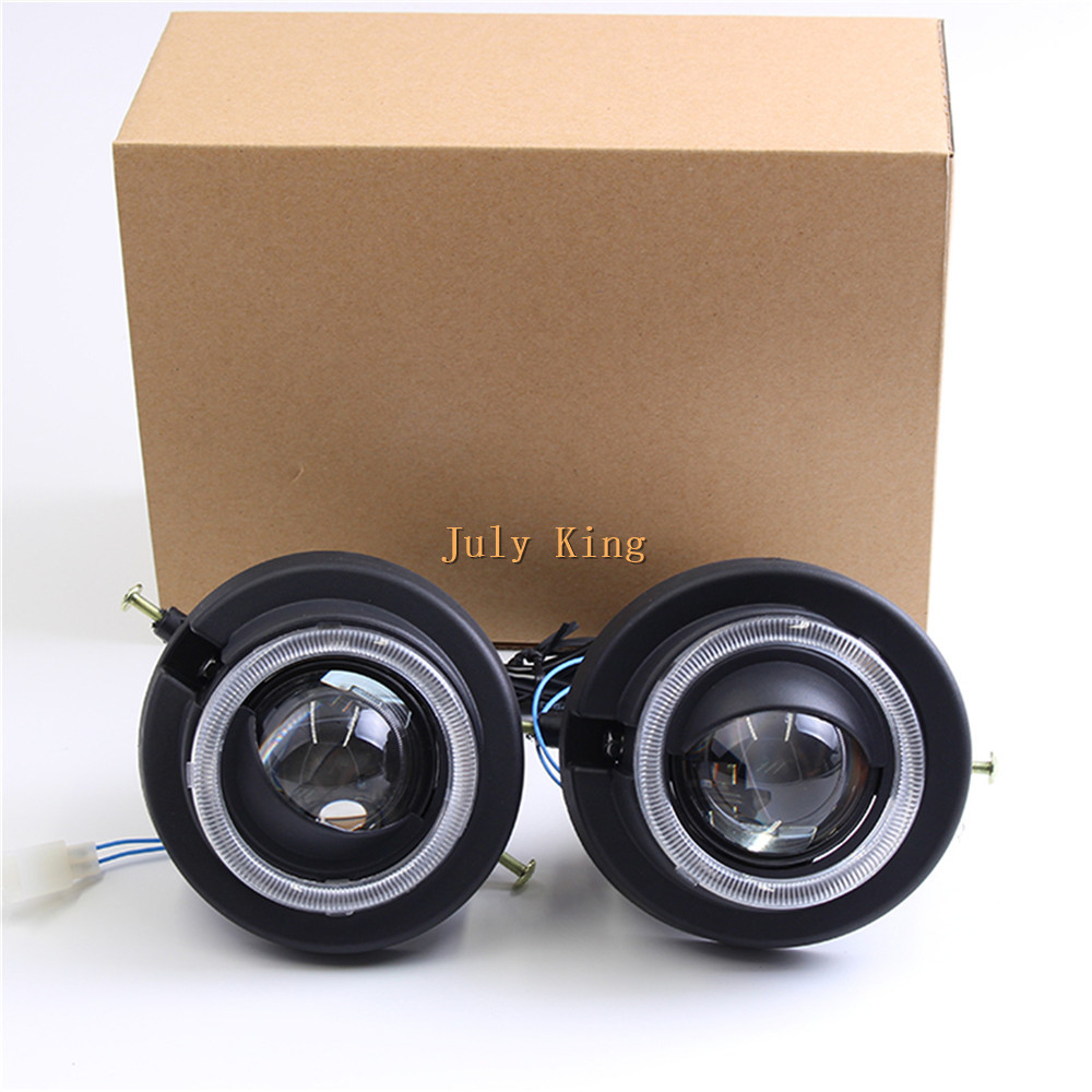 July King Car Bifocal Lens Fog Lamp Assembly Angel Eye Rings DRL Case for Honda CRV 2006~11 and Accord Euopean Type 2008~10 etc car bifocal fog lens for honda cr v accord taiwan product front bumper lights high quality free shipping