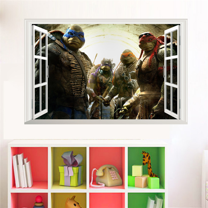 Cartoon Teenage Mutant Ninja Turtles Wall Decals Bedroom Baby Home Decor Mural Art Pvc Wall Stickers Boys Gift Poster Wall Stickers Aliexpress