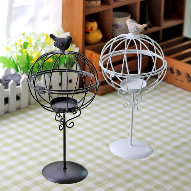 Anese Style Wrought Iron Birdcage Candlestick Fashion Creative Candle Holder Home Furnishing Articles Wedding Decor Gifts