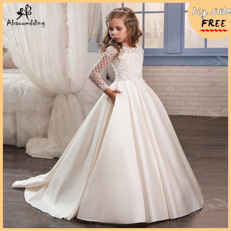 Pageant Dress Long Sleeves and Appliques Satin White Ivory Flower Girl Dresses For Wedding Custom Made