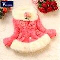2016 otoño y el invierno niño grande de Corea solapa de la chaqueta de cuatro grandes flor de la moda infantil de Cuero hierba abrigo de invierno capa de las muchachas 5 Colores