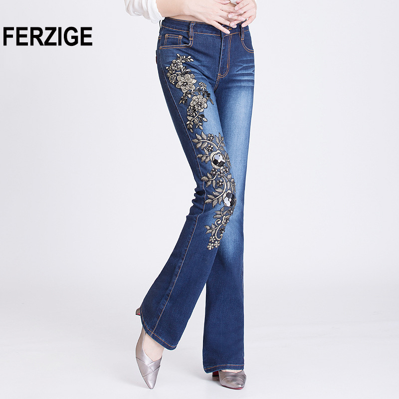 FERZIGE Women Jeans with Rhinestones Black Sequins Beading Embroidery Pants High Waist Stretch Flares Sexy Ladies Slim Fit Jean