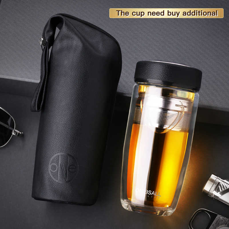 Open Dream bag Coffee Mug Container Cup Water Bottle Bags Glass Leather PU Pocket Container Bag Portable MUG With handle rope