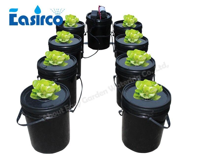 9 baldes Completo sistema aeroponics com cloner balde Frete grátis