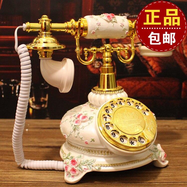 Vintage retro classic white dial telephone landline European Garden antique rotary dial corded phone ringing tones