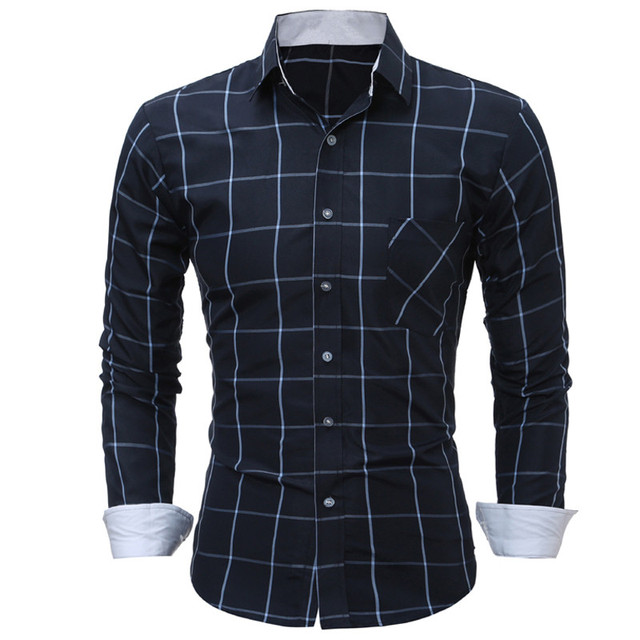 New Autumn Fashion Brand Men Clothes Slim Fit Men Long Sleeve Shirt Men Plaid Cotton Casual Men Shirt Social Plus Size M-3XL
