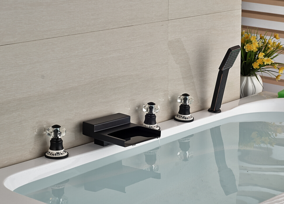 Luxury Oil Rubbed Bronze Waterfall Bathroom Tub Faucet With Hand Shower Sprayer 5pcs Deck Mounted