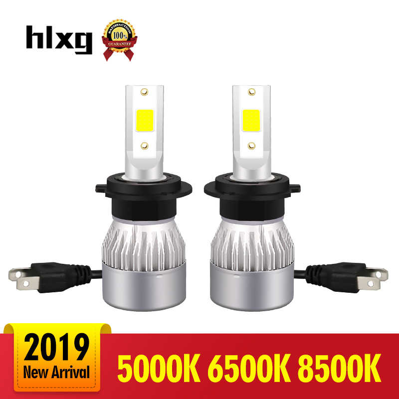 HLXG 2PCS Super Bright Car Headlights H7 LED H4 led H8/H9/H11 8500K Auto Bulb 5000K Automobiles Headlamp 6500K White LED
