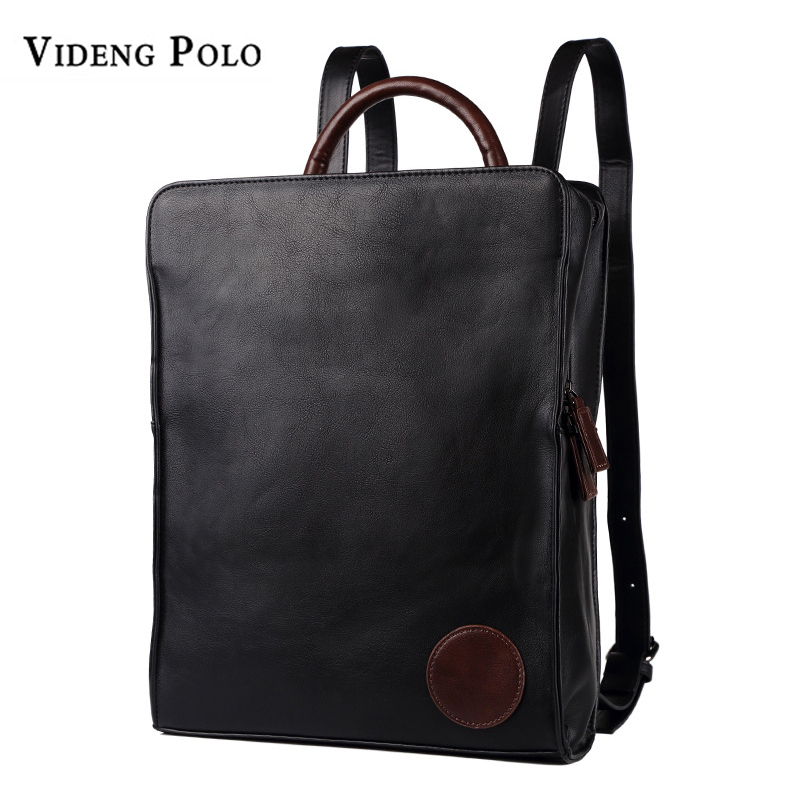VIDENG POLO Men Leather Large Capacity Backpack Youth Travel Rucksack School Book Bag Male Laptop Casual Bagpack Shoulder Bags