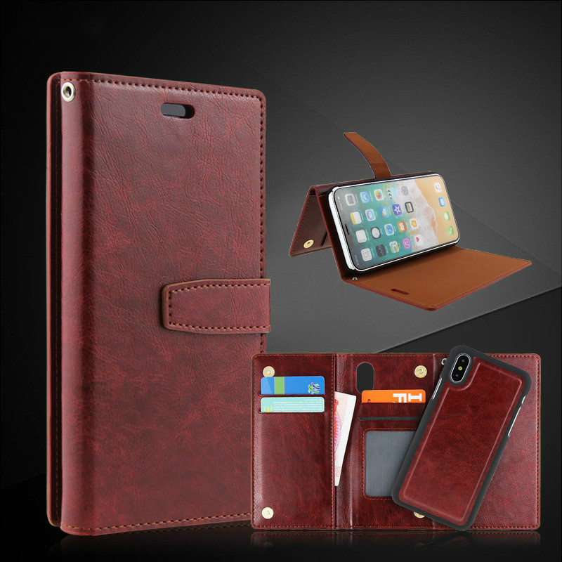 10PCS Sumgo For iPhone X Case Wallet Flip Leather Case For iPhone 7 Plus for iPhone 8 Plus PU Leather + Hard PC Cases Cover
