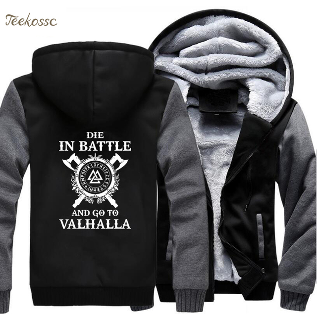 best service 67b99 583aa Odin Vikings Hoodie Men Die In Battle And Go To Valhalla Hooded Sweatshirt  Coat 2018 Winter Warm Fleece Black Grey Jacket Men's