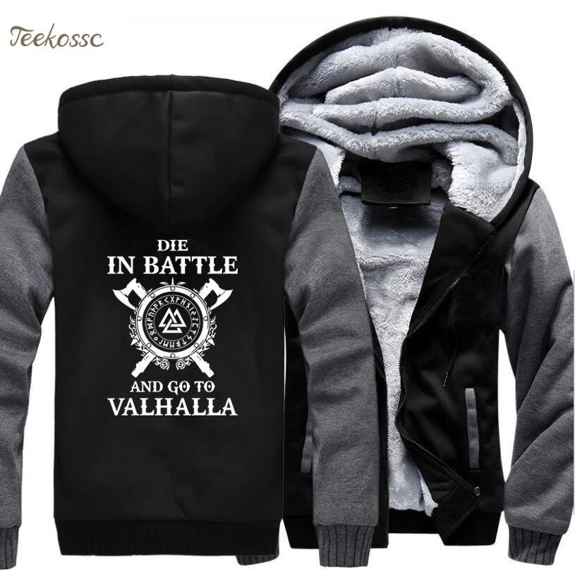 Odin vikingos Sudadera con capucha de los hombres morir en batalla, y ir a Valhalla Sudadera con capucha abrigo de invierno de 2018 de lana caliente negro gris chaqueta de los hombres