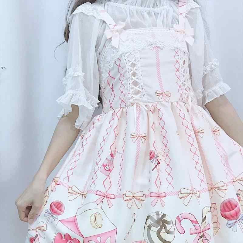 Japonês JSK Lolita Vestido mulheres vestido de verão doce menina suave vento bonito dos desenhos animados lolita suspender vestido bonito