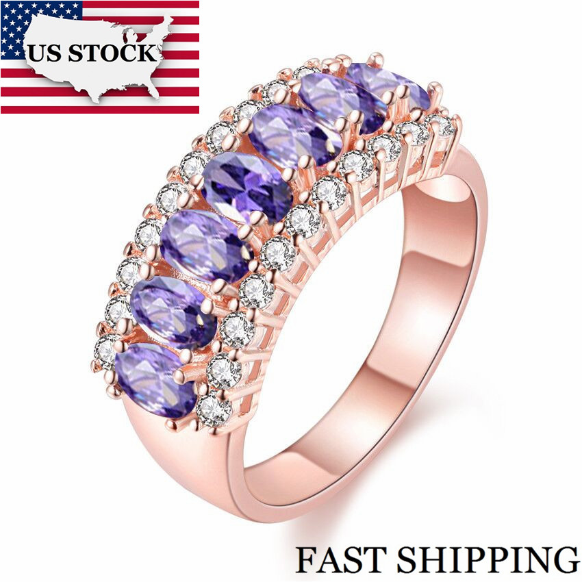 US STOCK Red Cubic Zirconia Luminous Wedding Rings for Women Charms Ring Fashion Jewelry Rings Valentine's Day J501