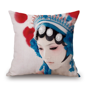 Beijing opera Series Lonely Girl Cotton Throw Pillow Home Decoration Cushion C