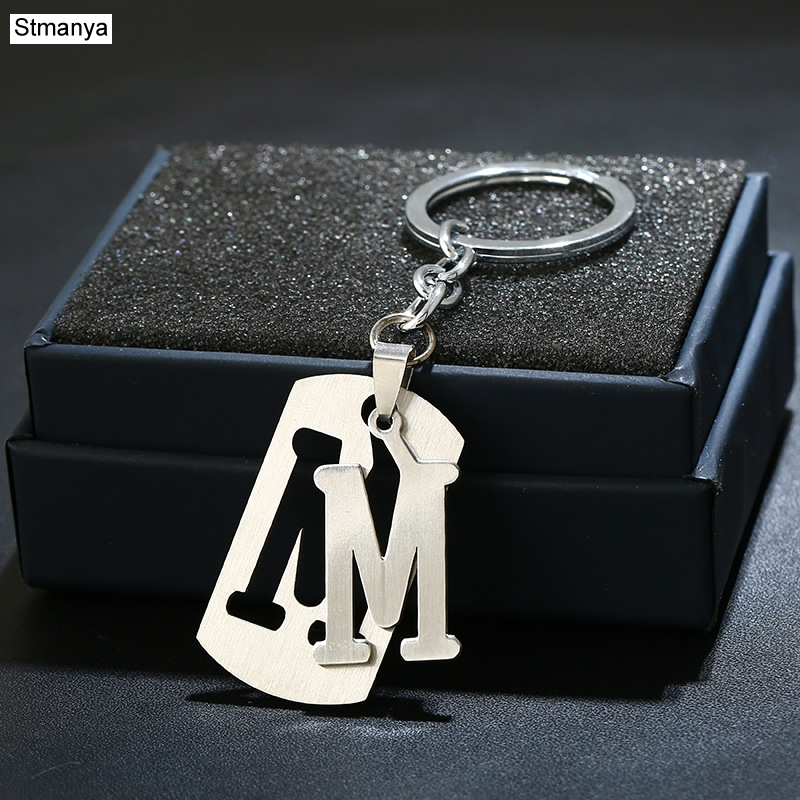 Charm New 26 Letters Stainless Steel Key Chain Men Women Keychain Best Couple Gift Jewelry Car Key Ring A-Z Keychain