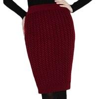 Vintage WInter Woolen Knitted Long Women Skirts Straight Pencil Warm Black High Waist Midi Maxi Skirt