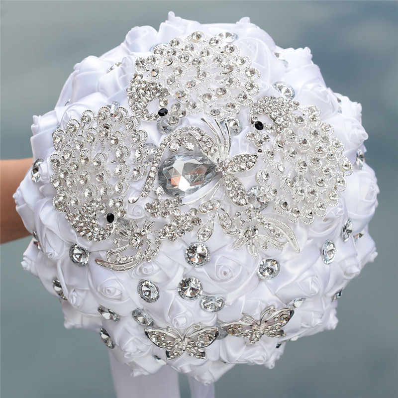 8 スタイル新白結婚式の花嫁持株花人工花束リボンラインストーン真珠の花束装飾花嫁新郎ダンス