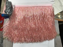 Handmade 15cm wide beaded fringe trimming,5.5yard, about 270 beads threads/yard