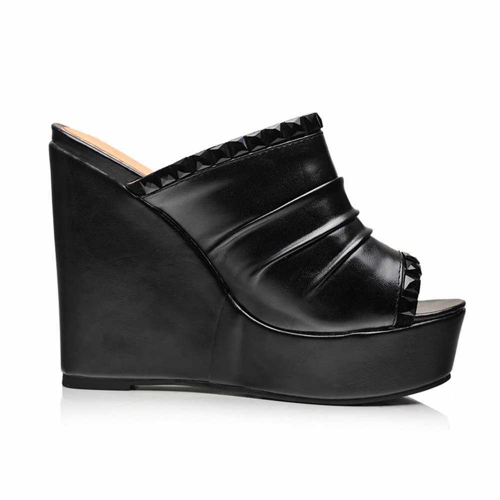 Karinluna yeni gelenler dropship büyük boy 32-43 Peep Toe kama yüksek topuklu katır kadın ayakkabı pompaları parti ayakkabıları kadınlar pompaları