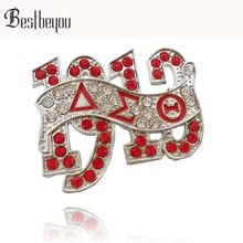 Merah DELTA SIGMA Theta Sorority 1913 Dst AEO Huruf Lapel Pin Bros Perhiasan Aksesoris(China)