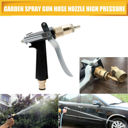 High Pressure Water Spray Gun Brass Nozzle Garden Hose Pipe Lawn Car Wash Camping Brush Accessories