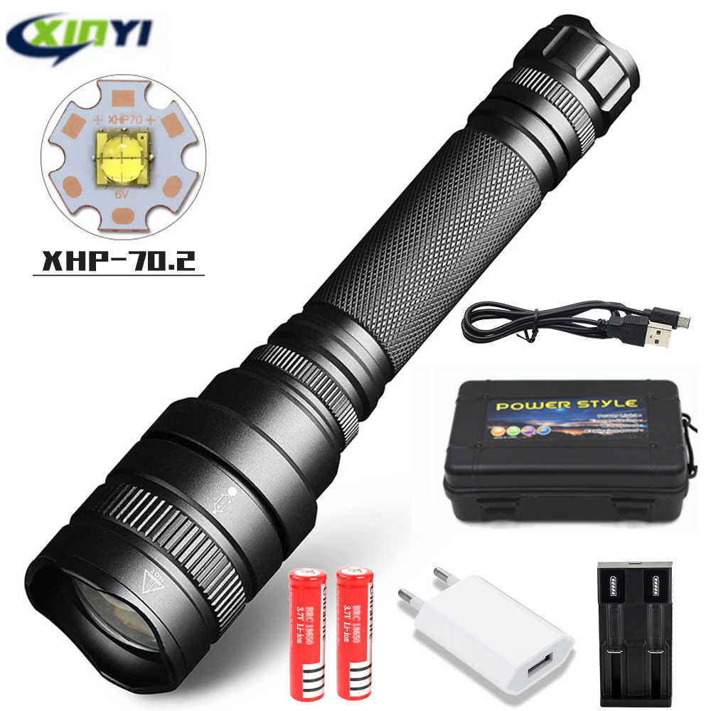 80000Lumens LED Flashlight xhp70.2 Ultra Bright Waterproof linterna led Torch xhp70 xhp50 18650 Best Camping, Outdoor light