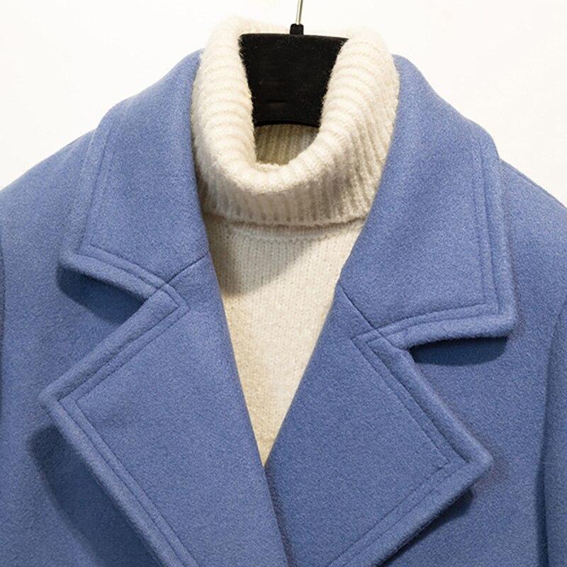 Femmes Nouveau Manteau down Bureau Laine 2018 Bleu Collar À Double Taille D'hiver Lady Turn Large Longue Nz32 Breasted CwwAqx5t