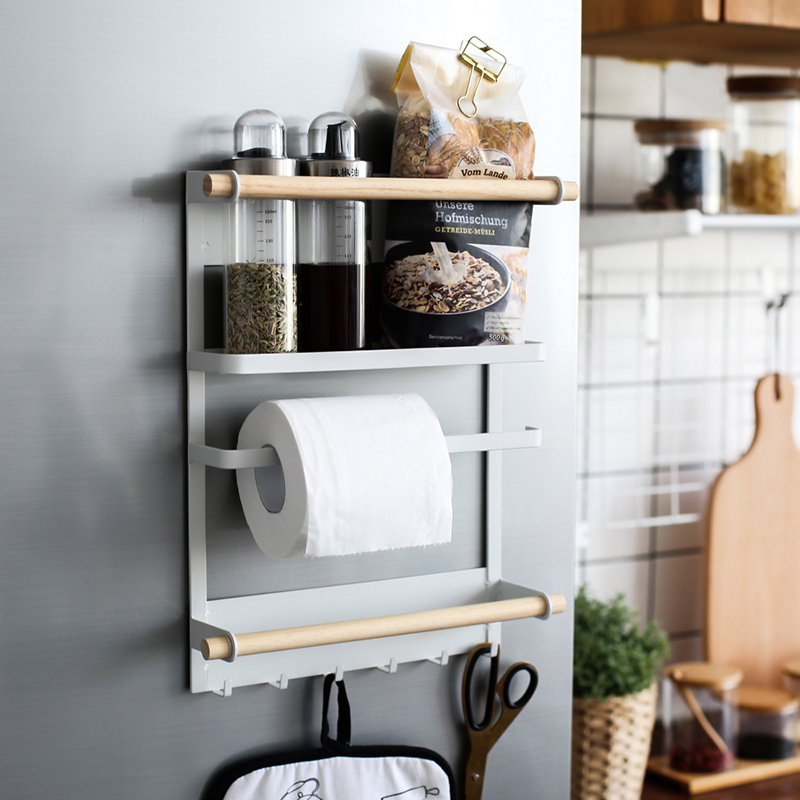 Kitchen Rack Fridge Magnetic Adsorption Organizer Tools Paper Towel Holder Seasoning Pot Jars Sundries Storage Rack Home Decor
