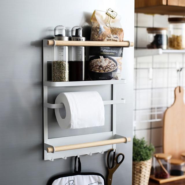 $ US $28.49 Kitchen Rack Fridge Magnetic Adsorption Organizer Tools Paper Towel Holder Seasoning Pot Jars Sundries Storage Rack Home Decor