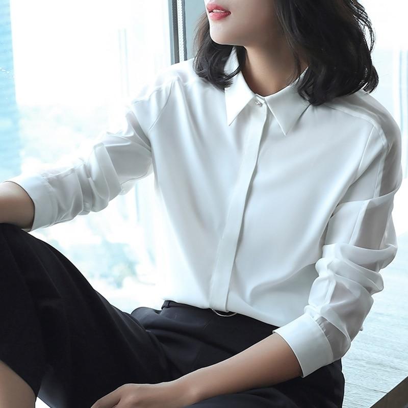 Ol женские топы и блузки деловая Рабочая одежда летняя Однотонная рубашка размера плюс с длинным рукавом Женская корейская модная женская одежда DD2081 - 2