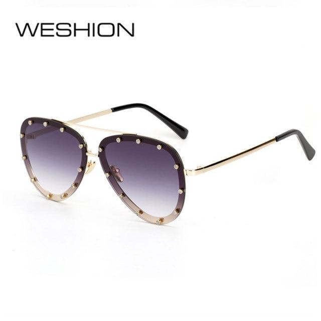 dd1da2b5ab2b4 WESHION Sunglasses Women Men Pilot Rivet Dimond Oval Sun Glasses Fashion Woman  Man 2018 New Lunette De Soleil Femme With Case