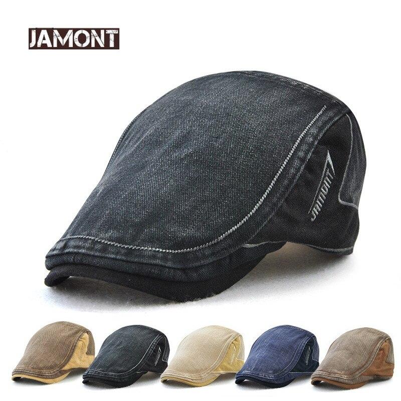 JAMONT 2018 New Cotton Retro Style Visor Men Caps Berets Hat Men Visors Cap  Letter Patch 980f6ff80237