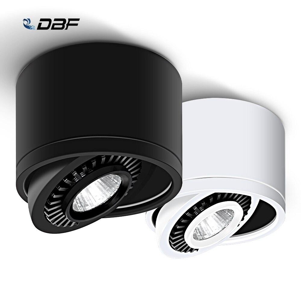 Superfície regulável Montado LEVOU Downlight COB 5 W/7 W/9 W/AC85V-265V 15W CONDUZIU a Lâmpada luz do Ponto do teto com Driver de LED Branco/Branco Quente