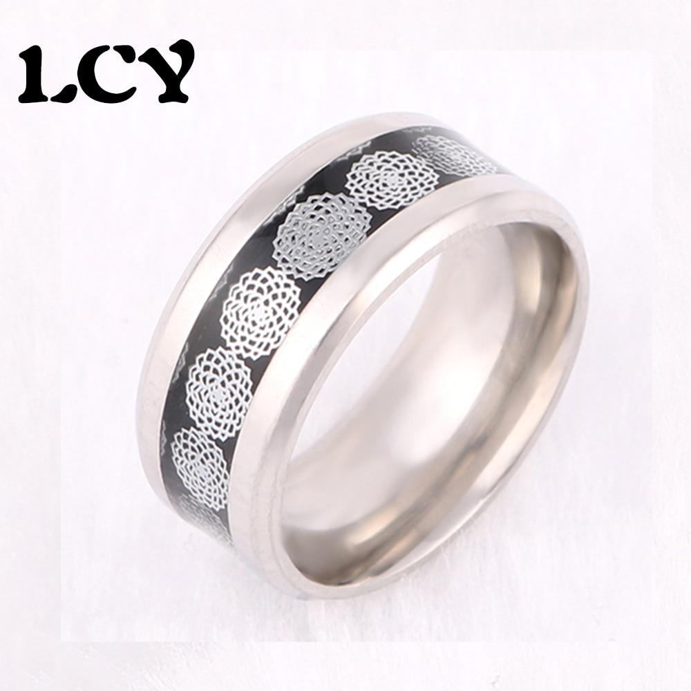 ef59a102c235 Nueva llegada de la calidad caliente Acero inoxidable mosaico flor-como  patrón moda anillo diseño anillo para hombres joyería popular marea LCY-119