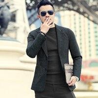 Для мужчин осень зима новый темно синий текстуру шерстяной костюм пиджак Для Мужчин's Повседневное Англия Стиль тонкий джентльменский бизн