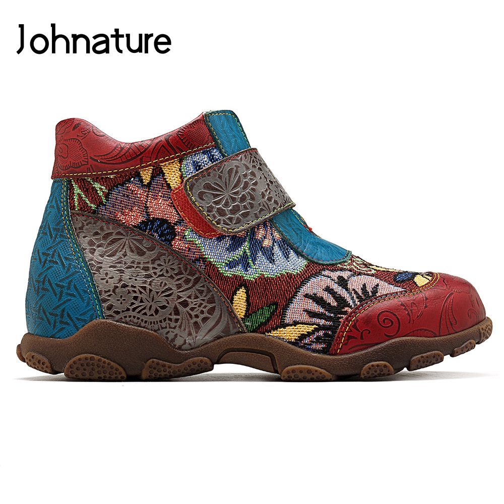 Johnature 2019 New Handmade Leisure Genuine Leather Comfortable Round Toe Flower Sewing Ankle Boots For Women