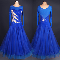 customize blue adult Viennese Ballroom Fox trot Quick step tango Modern galop Waltz diamond competition Dance Dress long sleeve