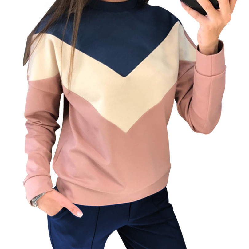 Tapakva color Stitching Tracksuit round neck pullover sweatshirt and pant two piece set