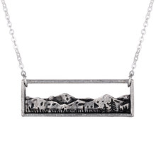 45+5cm Mountain Range Colorado Landscape Rectangle Bar Pendant Necklace Adventure Wanderlust Jewelry Everyday Nature Necklace(China)