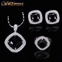 Fashion Black CZ Crystal Jewelry Set For Women Sterling Silver 925 Zircon Necklace Earring And Rings Sets Mothers Day Gift T258(China)