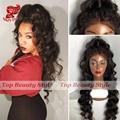 Высочайшее Качество Волокна Объемная Волна Синтетический парик Фронта Wig180 % Плотность Черного Цвета Жаропрочных Синтетические Парики для Чернокожих Женщин