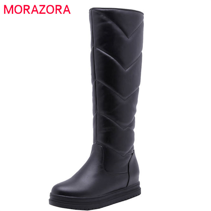 MORAZORA 2020 newest keep warm winter snow boots women waterproof slip on simple platform shoes comfortable knee high boots-in Knee-High Boots from Shoes
