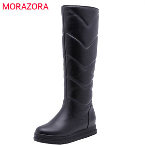 Image 1 - MORAZORA 2020 newest keep warm winter snow boots women waterproof slip on simple platform shoes comfortable knee high boots