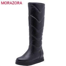 MORAZORA 2020 plus récent garder au chaud hiver neige bottes femmes imperméable sans lacet simple plate forme chaussures confortable genou bottes hautes