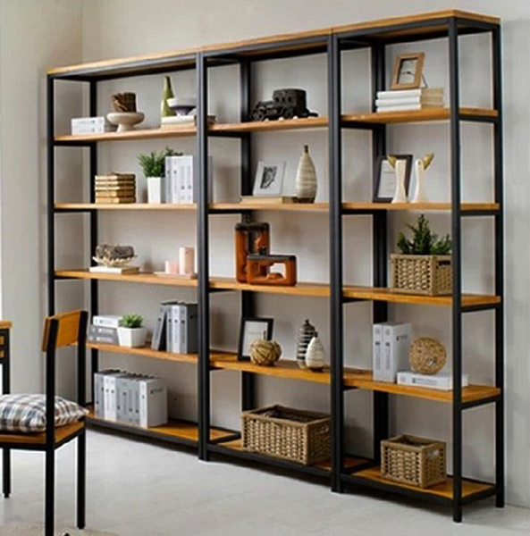 style loft am ricain faire le vieux plateau de fer forg biblioth que tag re en bois et fer. Black Bedroom Furniture Sets. Home Design Ideas